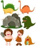 Reeks van dinosaurussen en holbewoner Royalty-vrije Stock Fotografie