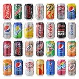 Reeks van divers merk van sodadranken Stock Fotografie