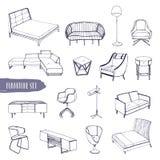 Reeks van divers meubilair Hand getrokken verschillende typesbanken, stoelen en leunstoelen, bedlijsten, bedden, lijsten, lampen vector illustratie