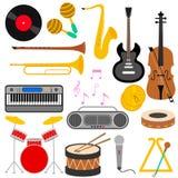 Reeks van divers muzikaal instrument vector illustratie