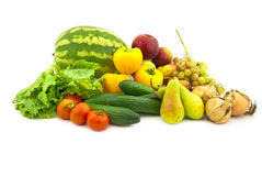 Reeks van diverse groenten en fruit royalty-vrije stock foto's