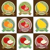 Reeks van diverse verse vruchten van het de markeringsetiket van de premiekwaliteit het kentekensticker Stock Foto
