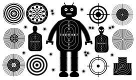 Reeks van doelstellingen geïsoleerde de mens van het doelmensen van het spruitkanon Sportpraktijk Opleiding Gezicht, kogelgaten D vector illustratie