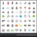 Reeks van 56 donkere grijze pictogrammen met betrekking tot het winkelen met Stock Afbeelding