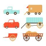 Reeks van dorpsvervoer op witte achtergrond wordt geïsoleerd die Auto, aanhangwagen, kar Grafiek voor spelen 8 beetjes Vectorillu vector illustratie