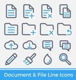 Reeks van Dossier en Indexbeheer het Ontwerp van Lijnpictogrammen Royalty-vrije Stock Foto