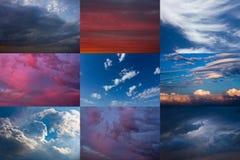 Reeks van dramatische hemel Stock Afbeelding