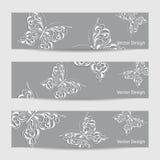 Reeks van drie banners met document vlinders vector illustratie