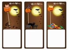 Reeks van Drie Banners van Halloween-Nacht Stock Afbeeldingen