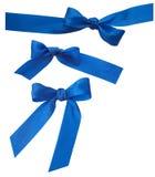 Reeks van drie blauwe linten Royalty-vrije Stock Foto's