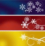 Reeks van drie de winterbanners Stock Foto's