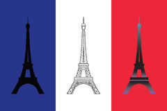 Reeks van drie Eiffel Toren Stock Afbeelding