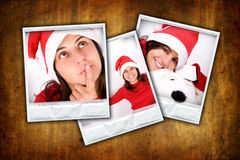 Reeks van drie fotoframes met Kerstmisbeelden Stock Foto