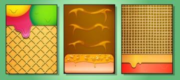 Reeks van drie heerlijke cakes royalty-vrije illustratie