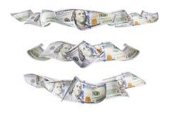 Reeks van Drie Honderd Dollar Bill Horizontal Graphic Photos stock afbeelding