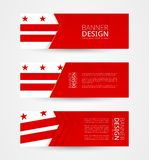Reeks van drie horizontale banners met vlag van District van Colombia De ontwerpsjabloon van de Webbanner in kleur van District v vector illustratie