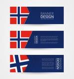 Reeks van drie horizontale banners met vlag van Noorwegen De ontwerpsjabloon van de Webbanner in kleur van de vlag van Noorwegen vector illustratie