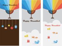 Reeks van drie kaarten met hanukkahinfographics royalty-vrije illustratie