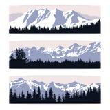 Reeks van drie landschapsbanners met silhouetten van bergen en Stock Foto's