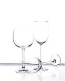 Reeks van drie lege wijnglazen Royalty-vrije Stock Afbeelding