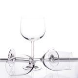 Reeks van drie lege wijnglazen Stock Fotografie