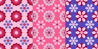 Reeks van drie naadloze patronen met abstracte bloemen Vector eps10 stock illustratie