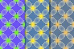 Reeks van drie naadloze patronen met abstracte cijfers van kruisvormige structuur in één stijl Kleurrijke illustratie, eps10 stock illustratie