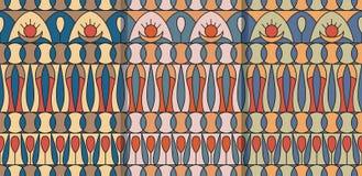 Reeks van drie naadloze patronen met geometrisch folkloreornament Etnische vectortextuur in uitstekende stijl Coloful stock illustratie