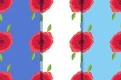 Reeks van drie naadloze patronen met mooie rozen in één stijl Kan voor tegel, behang, textiel, het verpakken, kaart, dekking word stock illustratie