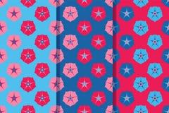 Reeks van drie naadloze patronen met multicolored bloemen in één stijl Kleurrijke illustratie, eps10 royalty-vrije illustratie