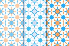 Reeks van drie naadloze patronen met sterren in ??n stijl Kleurrijke illustratie, eps10 stock illustratie