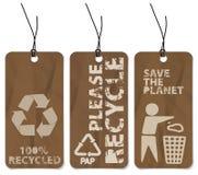 Reeks van drie recyclings grunge markeringen vector illustratie