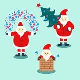 Reeks van drie Santa Claus met vakantiedecoratie vector illustratie