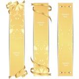 Reeks van drie VIP gouden verticale banner met gouden linten Stock Foto