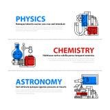 Reeks van drie Webbanners over onderwijs en universiteitsonderwerpen in vlakke illustratiestijl Fysica, chemie en astronomie royalty-vrije illustratie