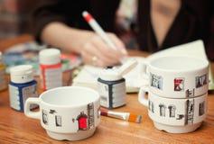 Reeks van drie witte met de hand gemaakte koppen Royalty-vrije Stock Foto