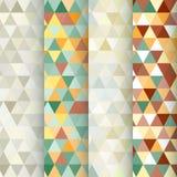 Reeks van 4 driehoeks geometrische naadloze patronen Royalty-vrije Stock Foto's