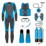 Reeks van duikuitrustingpictogram Wetsuit, scuba-uitrustingstoestel en de sportenpunt van de toebehoren Onderwateractiviteit royalty-vrije illustratie