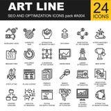 Reeks van Dun analyticsontwerp van het pictogrammenweb Stock Afbeeldingen
