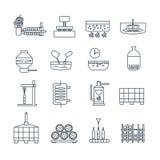 Reeks van dunne de wijnproductie van lijnpictogrammen Royalty-vrije Stock Afbeeldingen