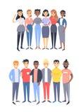 Reeks van een groep verschillende mannen en vrouwen De karakters van de beeldverhaalstijl van verschillende rassen, geslacht Vect stock illustratie