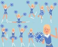 Reeks van een vrolijk cheerleaderkarakter