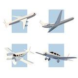 Reeks van eenvoudig pictogram van vliegtuigen. Royalty-vrije Stock Foto