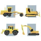 Reeks van eenvoudig pictogram van zware machines. Royalty-vrije Stock Afbeeldingen
