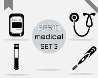 Reeks van 4 Eenvoudige medische reeks Stock Afbeelding