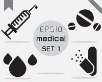 Reeks van 4 Eenvoudige medische reeks Stock Foto's