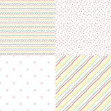 Reeks van 4 eenvoudige naadloze patronen Stock Afbeeldingen