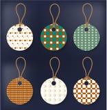 Reeks van eenvoudige zes, stickers met naadloos patroon Royalty-vrije Stock Foto