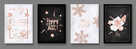 Reeks van Elegant Vrolijk Kerstmis en Nieuwjaar 2019 Kaarten met het Glanzen Rose Gold Glitter Christmas Balls, Sterren, Sneeuwvl royalty-vrije illustratie