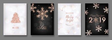 Reeks van Elegant Vrolijk Kerstmis en Nieuwjaar 2019 Kaarten met het Glanzen Rose Gold Glitter Christmas Balls, Sterren, Sneeuwvl vector illustratie